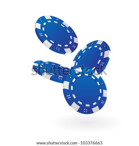 Illustration of Falling Blue Poker Chips Isolated on White