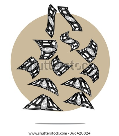 Illustration of falling money with circle background - stock vector