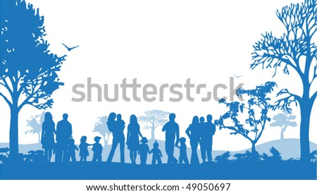 Illustration of families and nature