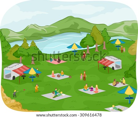 Illustration of Families Having a Picnic Near a Lake - stock vector