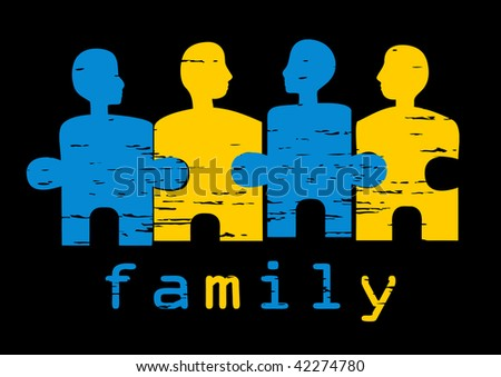 Illustration of family; concept of harmony, unity, family values, solutions - stock vector