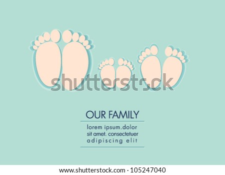 Illustration of family feet, dad, mom and child - stock vector