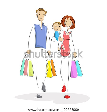 illustration of family shopping with carry bag - stock vector