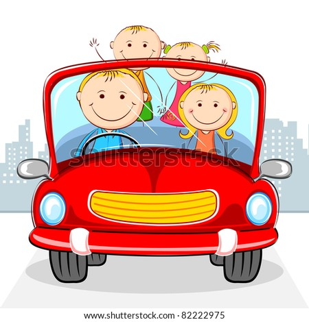 illustration of family traveling in car on cityscape backdrop
