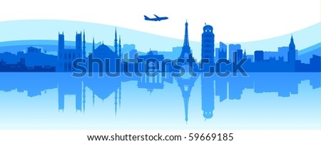 Illustration of  famous buildings and monuments in Europe - stock vector