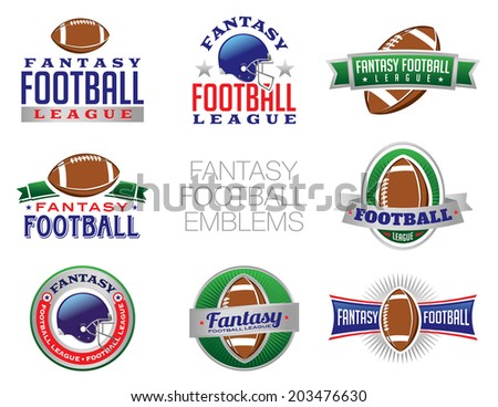 Illustration of Fantasy Football emblem and badges. Vector EPS 10 contains transparencies. - stock vector