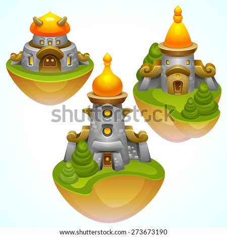Illustration of Fantasy temples on flying islands. Vector eps 10. - stock vector