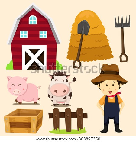 illustration of farm animals and related items - stock vector