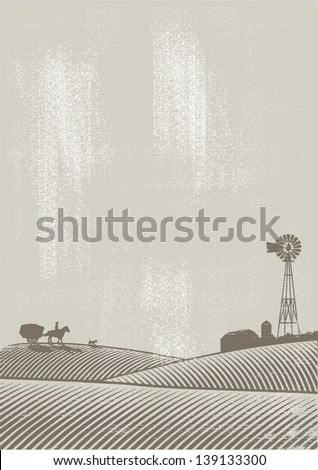 Illustration of farm background - stock vector