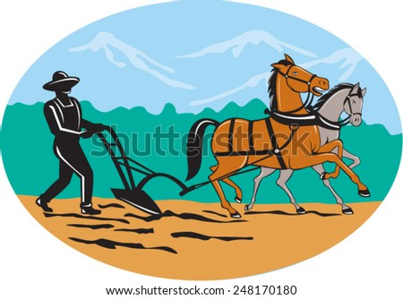 Illustration of farmer and horse plowing farmer field viewed from side with trees and mountains set inside oval shape done in cartoon style on isolated background. - stock vector