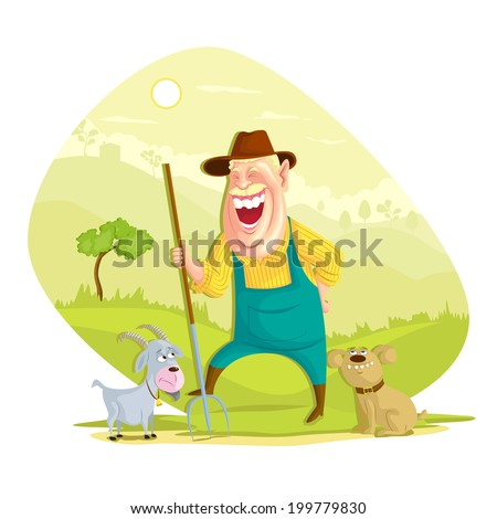illustration of farmer with hay fork in vector - stock vector