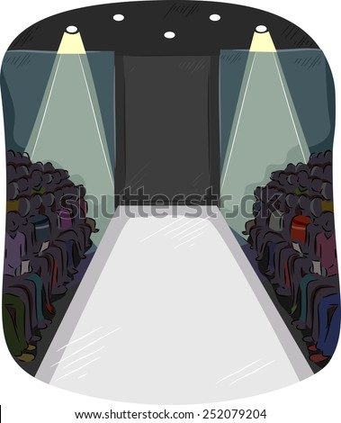 Illustration of Fashion Enthusiasts Gathered Around an Empty Runway - stock vector