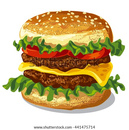 illustration of fast food hamburger with cheese, lettuce and lettuce