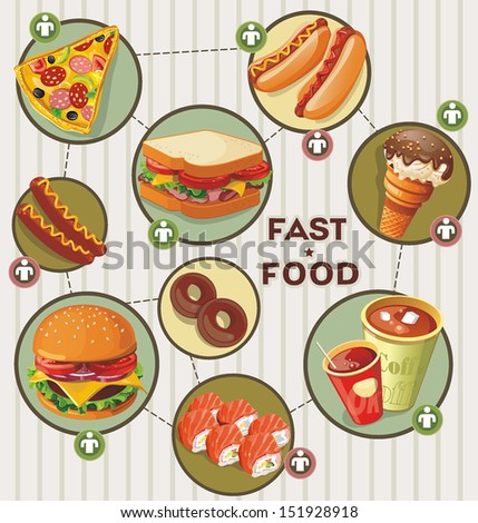 Illustration of fast food infographics. Elegance Retro Cards for Menu