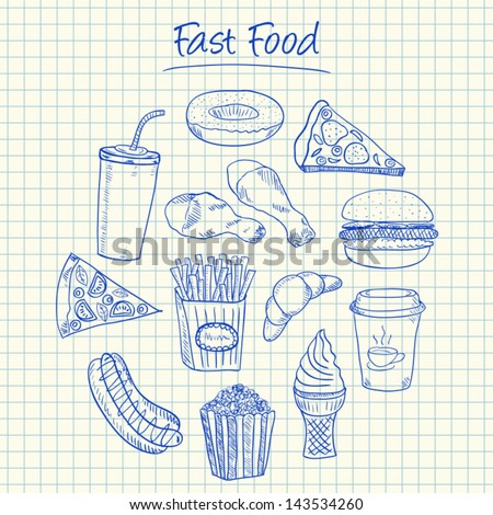 Illustration of fast food ink doodles on squared paper - stock vector