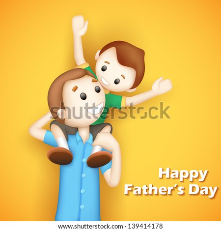 illustration of father giving boy piggy back ride in Father's Day - stock vector