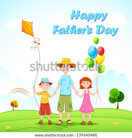 illustration of father playing with kids - stock vector