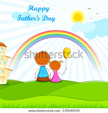 illustration of father sitting with kids in Father's Day - stock vector