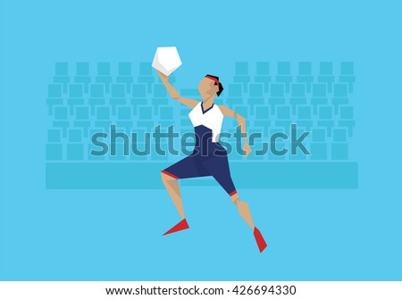 Illustration Of Female Basketball Player Competing In Event  - stock vector
