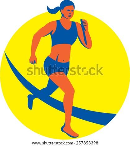 Illustration of female marathon triathlete runner running set inside circle on isolated background done in retro style. - stock vector