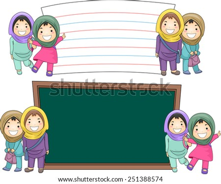 Illustration of Female Muslim Students Standing Beside Blank Boards - stock vector