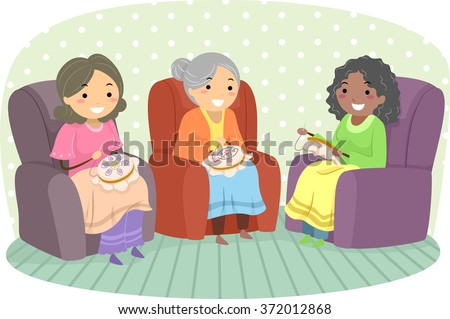 Illustration of Female Senior Citizens Enjoying Embroidery - stock vector