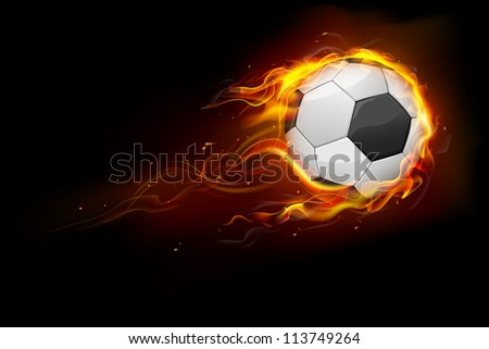 illustration of fiery soccer ball showing speed - stock vector