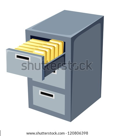 illustration of file cabinet with an open - stock vector