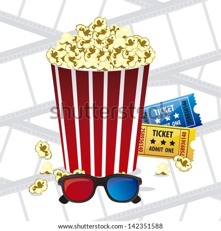 Illustration of film icon, movie popcorn, vector illustration