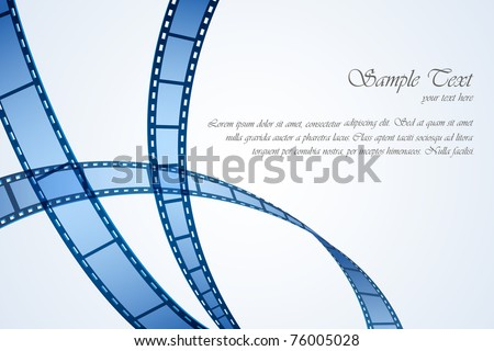 illustration of film reel stripe on abstract background - stock vector
