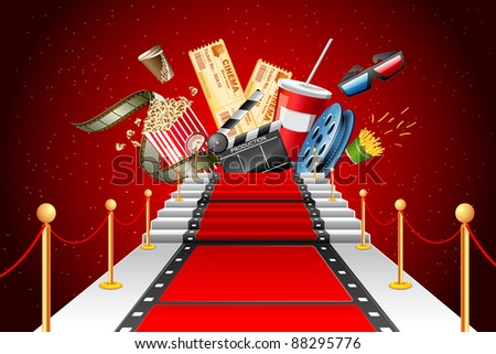 illustration of film stripe laying as red carpet with entertainment object - stock vector
