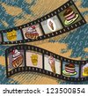 Illustration of film strips with photos of food on blue background - stock photo
