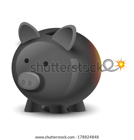 illustration of financial bomb in shape of piggy bank - stock vector