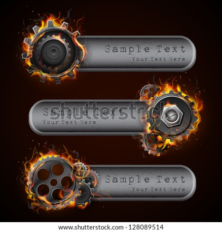 illustration of fire flame in cog wheel with copy space - stock vector