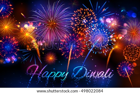 illustration of firecracker on Happy Diwali Holiday background for light festival of India