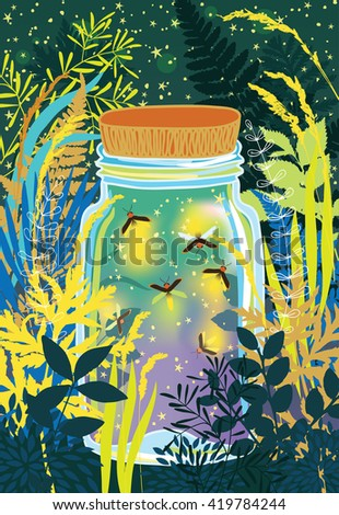 Illustration of fireflies in a glass jar - stock vector