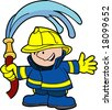 Illustration of fireman holding water hose - stock vector