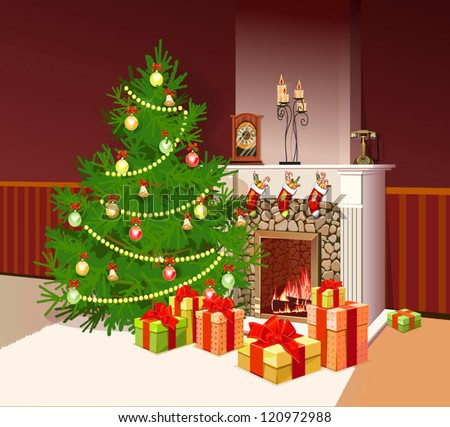 illustration of fireplace with gifts and decorated tree for christmas - stock vector