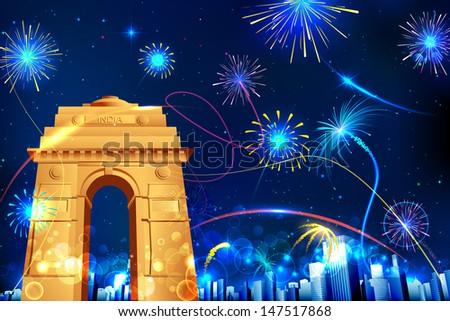 illustration of firework display in India Gate for celebration - stock vector