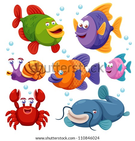 Illustration of fish collection - stock vector
