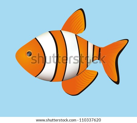 Illustration of fish, isolated on white background, vector illustration - stock vector