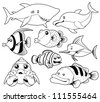 illustration of fish sea black and white set - stock vector