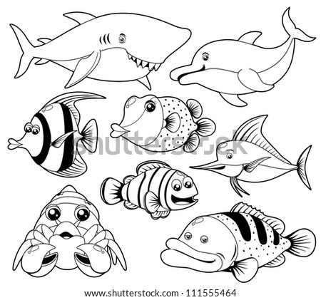 illustration of fish sea black and white set