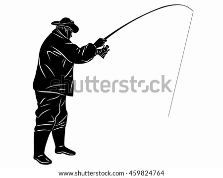 illustration of fisherman. black and white drawing, white background
