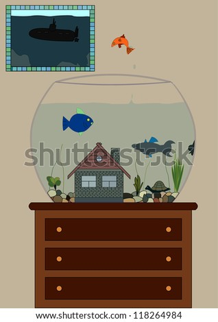 Illustration of fishes in aquarium and a painting on the wall - stock vector