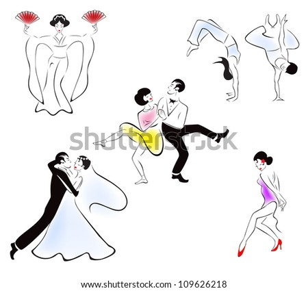 Illustration of five dance styles: Japanese dance, capoeira, swing, wedding dance, latin solo. - stock vector