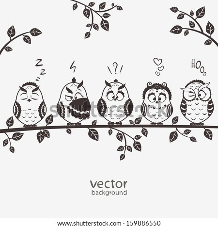 illustration of five silhouette funny emoticon owls sitting on a branch - stock vector