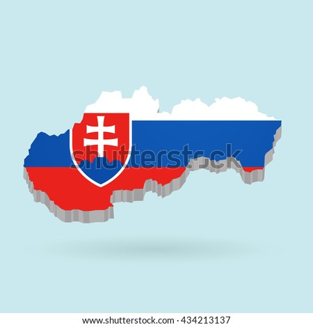 Illustration of flag color Slovakia on map.Vector illustration flat style.