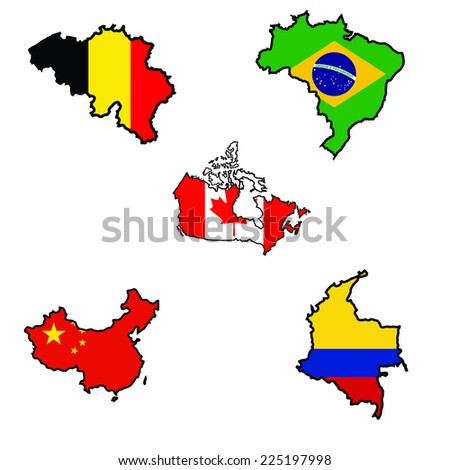 Illustration of flag in map of Belgium,Brazil,Canada,China,Colombia  - stock vector