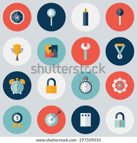 Illustration of Flat circle Business icon set - stock vector